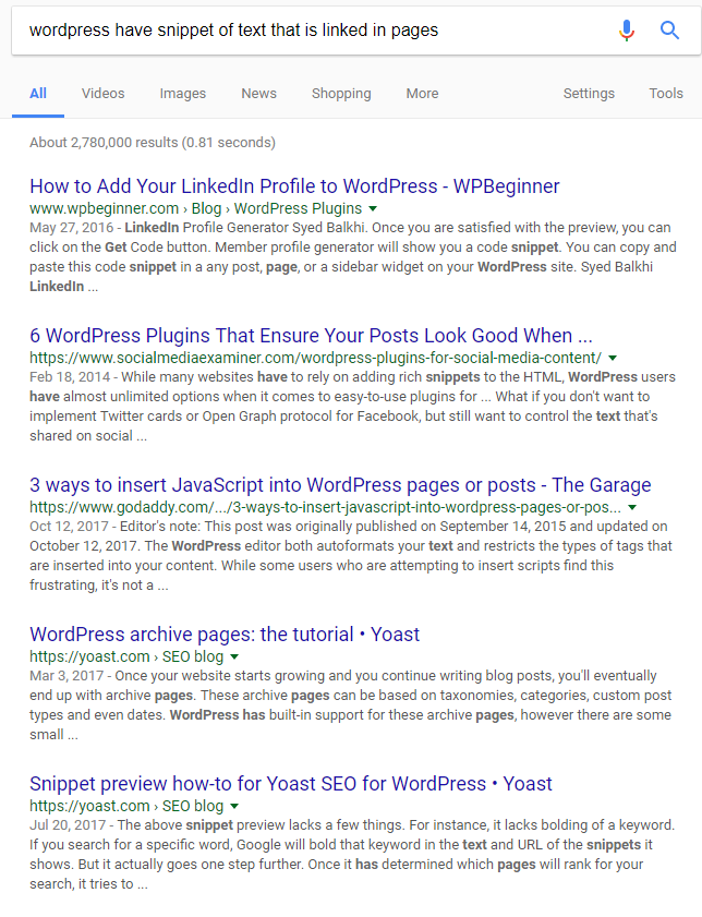 """wordpress have snippet of text that is linked in pages"""